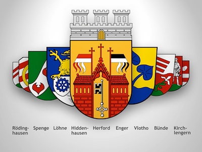 Each town and municipality in the district of Herford has its own coat of arms. Herfords coat of arms exists since 1899