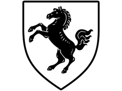 The coat of arms of the district of Herford, the district of Wittekind, features a black horse. According to legend a black horse had been ridden by Wittekind until his christening. After the forced baptism Charlemagne gave him a white horse as a present which is today's heraldic animal of Westphalia