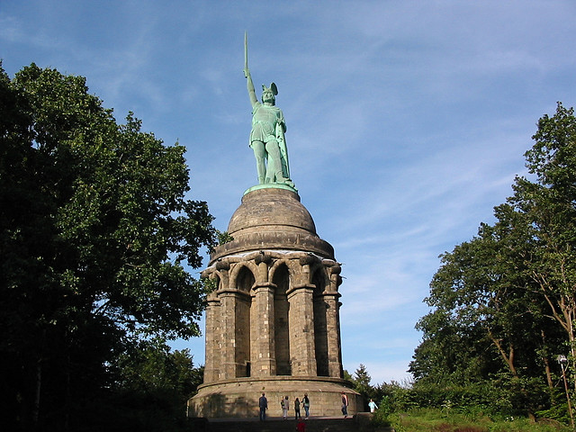 The Hermannsdenkmal illustrates the chieftain of the Germanic Cherusci, Arminius, and the victory over the Romans in the Battle of the Teutoburg Forest in which Germanic tribes led by Arminius (in German: Hermann or Armin, in English: Herman) defeated Roman legions led by Publius Quinctilius Varus in the year 9 AD